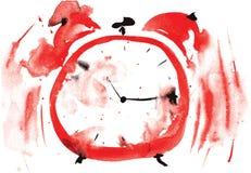 Шальной красный будильник, покрашенный в акварели Стоковое фото RF