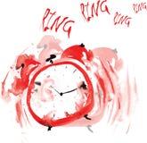 Шальной красный будильник, покрашенный в акварели Стоковые Фотографии RF