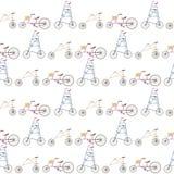 Шальные и странные велосипеды в линии картине Стоковое Изображение RF