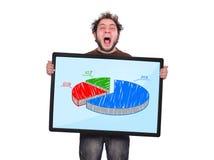 Шальные человек и диаграмма Стоковое фото RF