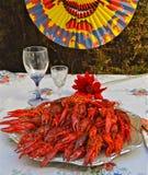 Шведская партия Crayfish в августовском Стоковые Изображения