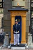 Шведский офицер вооруженных сил страны в форме на столбе предохранителя вне th Стоковое фото RF