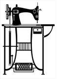 Швейная машина вектора на белизне Стоковые Изображения