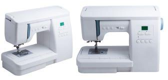 Швейная машина изолированная на белом коллаже Стоковые Изображения RF