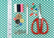 Швейный набор на ткани точки польки Стоковое Фото
