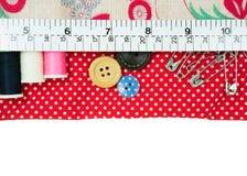 Швейный набор с сумкой ткани Стоковое Фото