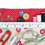 Швейный набор с сумкой ткани Стоковое фото RF