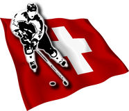 швейцарец игрока хоккея флага Стоковые Фото