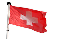 швейцарец изолированный флагом Стоковая Фотография