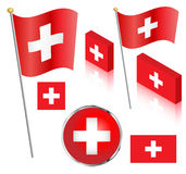швейцарец флага установленный Стоковые Изображения