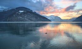 швейцарец Швейцария захода солнца панорамы гор озера Стоковые Изображения