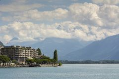Швейцарец riviera около Монтрё стоковая фотография