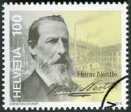ШВЕЙЦАРИЯ - 2016: выставки Генрих Henri Nestle 1814-1890 Стоковое фото RF