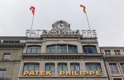 Швейцария; Женева; 9-ое марта 2018; Здание музея Patek Philipp в Женеве; Philipp SA Patek швейцарский роскошный часовщик основало стоковые изображения
