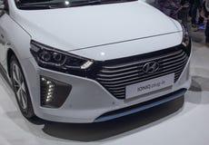 Швейцария; Женева; 8-ое марта 2018; Plug-in Hyundai IONIQ; 8 стоковое фото rf