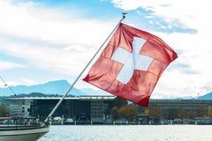 Швейцария развевая флаг Стоковые Изображения