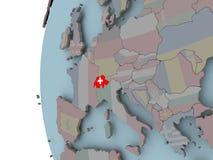 Швейцария с флагом на глобусе иллюстрация вектора