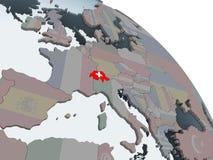 Швейцария с флагом на глобусе бесплатная иллюстрация