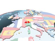 Швейцария с флагом на глобусе иллюстрация штока