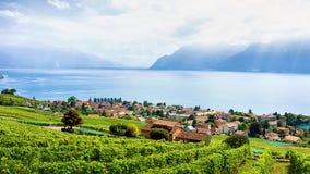 Швейцарская деревня около тропы террасы виноградника Lavaux в Швейцарии Стоковые Изображения RF