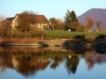 Швейцарская ферма на озере Стоковые Фото