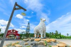 Швейцарские овцы обрабатывают землю где самый большой стиль фермы овец и парка потехи в Паттайя Стоковое Изображение