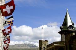 Швейцарские флаги Стоковое фото RF