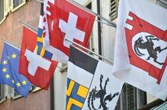 Швейцарские флаги Стоковое Изображение RF