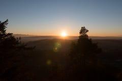 Швейцарский заход солнца Стоковая Фотография RF