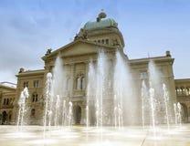 Швейцарский парламент строя Bundesplatz в Bern, Швейцарии Ho Стоковая Фотография
