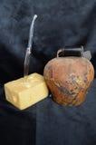 Швейцарский сыр с cowbell Стоковые Изображения