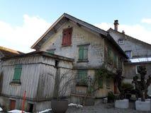 Швейцарский таунхаус наследия в городке Appenzell, Швейцарии Стоковые Изображения RF