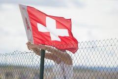 Швейцарское знамя Стоковая Фотография RF