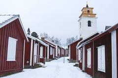 Швеция, город LuleÃ¥ старый, Gammelstad Взгляд над церковью города Стоковое фото RF