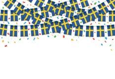 Швеция сигнализирует предпосылку гирлянды белую с confetti, овсянкой вида на шведский День независимости иллюстрация вектора