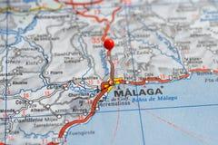Швеция Стокгольм, 7-ое апреля 2018: Европейские города на сериях карты Крупный план Малаги стоковая фотография rf