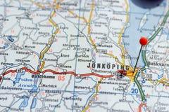 Швеция Стокгольм, 7-ое апреля 2018: Европейские города на сериях карты Крупный план Jönköping стоковое фото