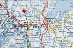 Швеция Стокгольм, 7-ое апреля 2018: Европейские города на сериях карты Крупный план Uddevalla стоковое фото