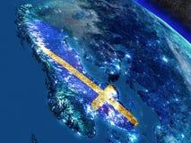 Швеция с врезанным флагом от космоса иллюстрация вектора