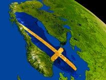 Швеция с флагом на земле Стоковое Фото