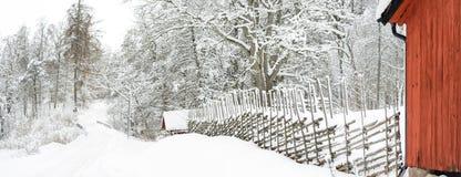 Шведская дорога зимы Стоковое Фото