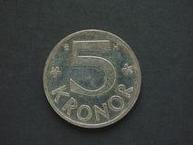 5 шведские кроны & x28; SEK& x29; монетка Стоковое Изображение