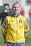 Шведский женский голкипер футбола - Hedvig Lindahl стоковые фото