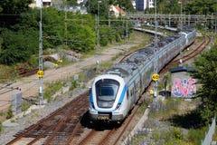 Шведский пригородный поезд Стоковые Фотографии RF