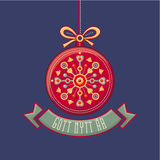 Шведский Gott Nytt Ar Скандинавская рождественская открытка Стоковое фото RF