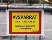 Шведское чтение знака: cordoned  Стоковая Фотография RF