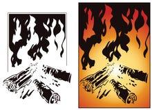 Швырок и пламя огня Стоковое Изображение