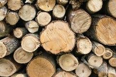 швырок штабелировал Старая выдержанная деревянная текстура с перекрестной сектой Стоковая Фотография RF