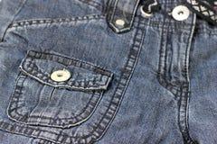 Швы и джинсовая ткань карманн Стоковая Фотография