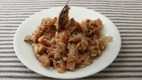 Шевелящ и ел цыпленка с обедающим ТВ риса сток-видео